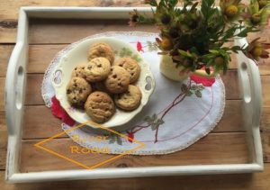 Cookies on a vintage embroidery tray cloth
