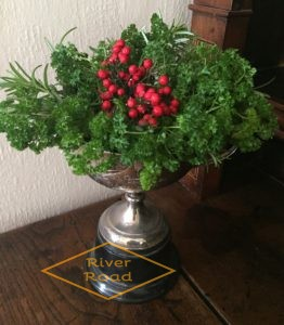 Parsley, rosemary and red berries