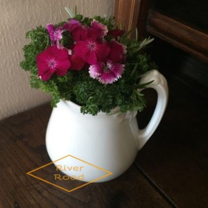 Parsley, rosemary and flowers